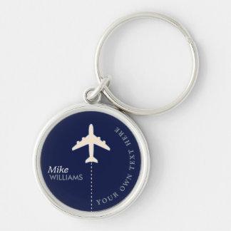 Flugzeug auf blauem keychain mit Namen Schlüsselanhänger