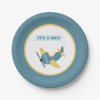 Flugzeug-blaue gelbe Jungen-Babyparty Pappteller