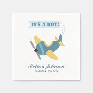 Flugzeug-blaue gelbe Jungen-Babyparty Serviette