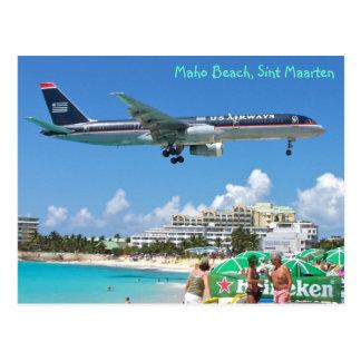 Flugzeug, das über Maho Strand, Sint Maarten, SXM Postkarte