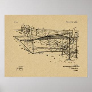 Flugzeug-Doppeldecker-Patent 1916, das Kunst-Druck Poster