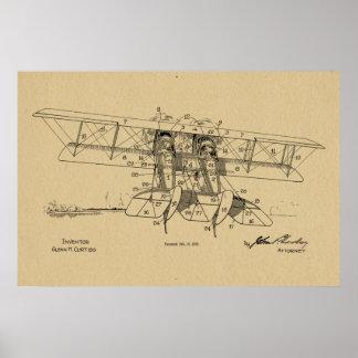 Flugzeug-Doppeldecker-Patent 1919, das Kunst-Druck Poster