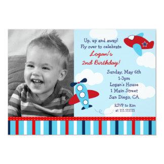 Flugzeug-Flieger-Jungen-Foto-Geburtstags-Einladung
