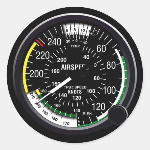 Flugzeug-Fluggeschwindigkeits-Indikatormessgerät Runder Aufkleber