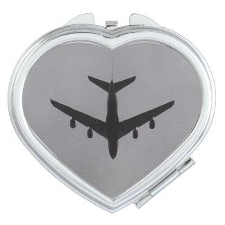 Flugzeug-Herz-Vertrags-Spiegel Schminkspiegel
