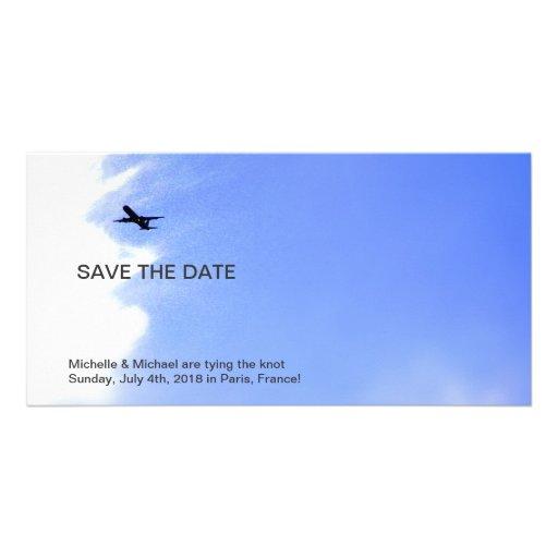 Flugzeug-Himmel-Bestimmungsort-Save the Date Fotok Foto Karten