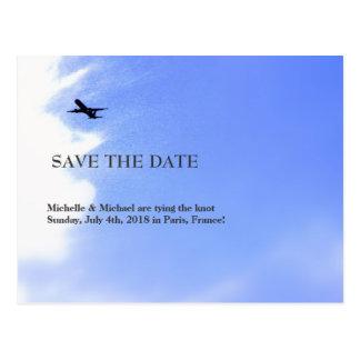 Flugzeug-Himmel-Bestimmungsort Save the Date Postkarte