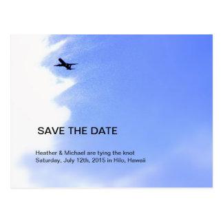 Flugzeug-Himmel-Hochzeit in Urlaubsort Save the Postkarte