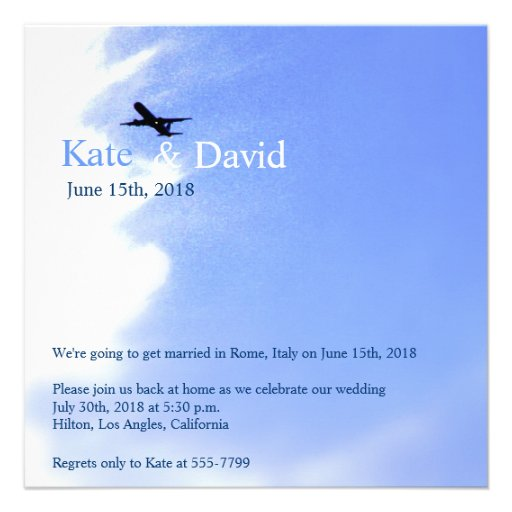Flugzeug-Himmel-Hochzeit in Urlaubsorts-Gewohnheit Individuelle Einladungskarten