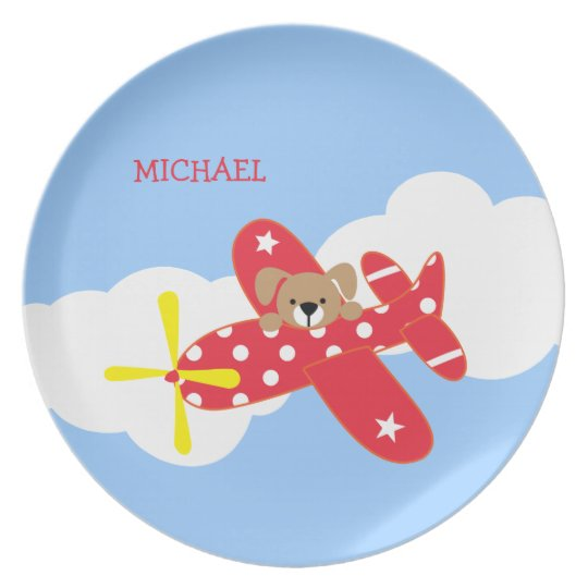 Flugzeug-Hündchen-Kinder Melaminteller