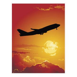 Flugzeug-im Flug Postkarte