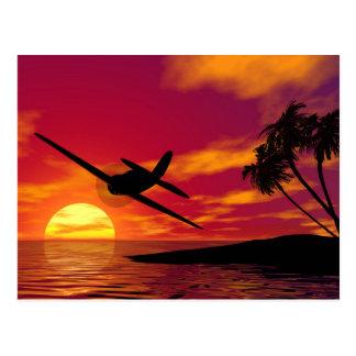 Flugzeug in einem tropischen Sonnenuntergang Postkarten