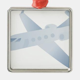 Flugzeug-Jet Silbernes Ornament