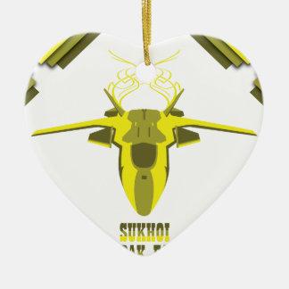 Flugzeug Keramik Herz-Ornament