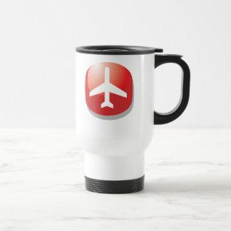 Flugzeug-roter einfacher Knopf Reisebecher