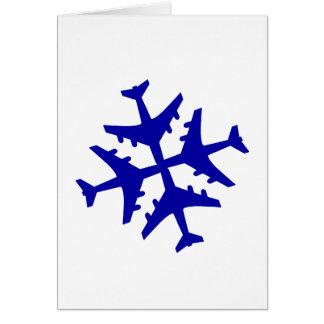 Flugzeug-Schneeflocke Grußkarte