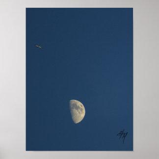 Flugzeug- und Mondplakat Poster