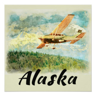 Flugzeuge Alaskas (AK) auf Alaska - Reise-Plakat Poster