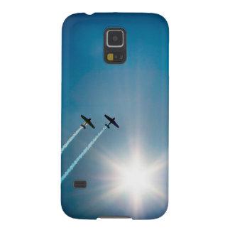 Flugzeuge, die auf blauen Himmel mit Sun. fliegen Samsung S5 Hülle