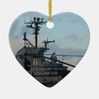 Flugzeugträger in New York Keramik Herz-Ornament