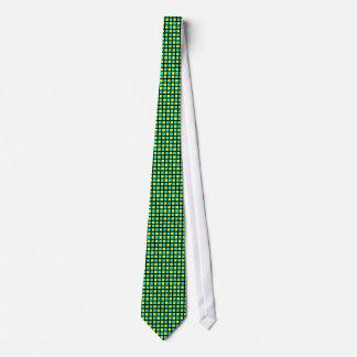 Fluo blaue und gelbe Gitter-Krawatte Bedruckte Krawatten