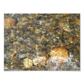 Fluss-Abgenutzte Kiesel Brown und graues Fotodruck