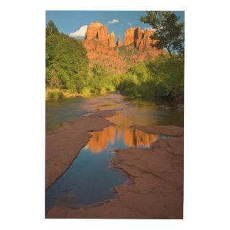 Fluss an der roten Felsen-Überfahrt, Arizona Holzdruck