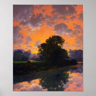Fluss bei Scutney durch Maxfield Parrish Poster