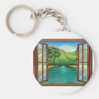 Fluss durch ein offenes Fenster Keychain Schlüsselanhänger
