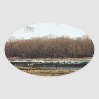 Fluss-Leben Ovaler Aufkleber