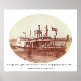 """Fluss Mississipi Snagboat """"US Gen. Barnard"""" Poster"""