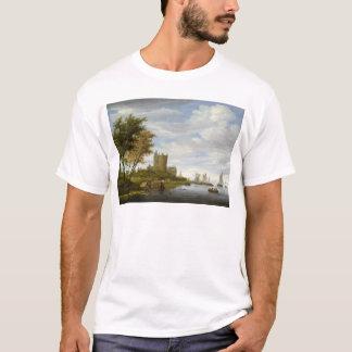 Fluss-Mündung mit einem Schloss T-Shirt