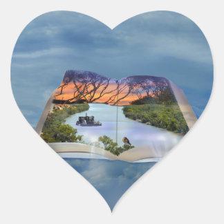 Fluss Murray, Seite in einem Buch, Herz-Aufkleber