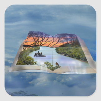 Fluss Murray, Seite in einem Buch, Quadratischer Aufkleber
