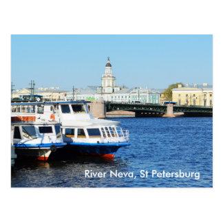 Fluss Neva, St Petersburg Postkarte