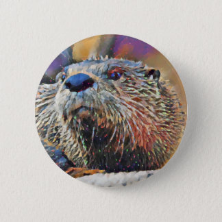 Fluss-Otter-Digital-Ölgemälde Runder Button 5,1 Cm