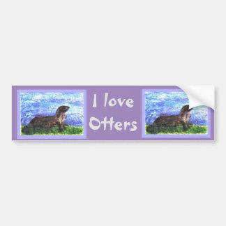 Fluss-Otter-Kunst Autoaufkleber