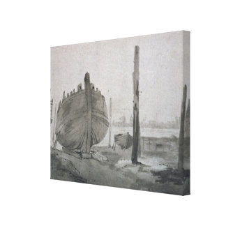 Fluss-Szene John Constables | mit Schiff am Leinwanddruck