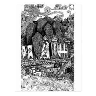 Fluss-Tempelfederillustrationspostkarte Postkarte