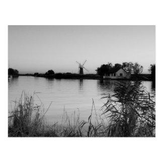 """Fluss Thurne"" Schwarzweiss-Postkarten Postkarte"