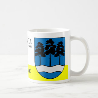 Fluss-und Baum-Natur-Schild vom Ungeheuer Lettland Kaffeetasse