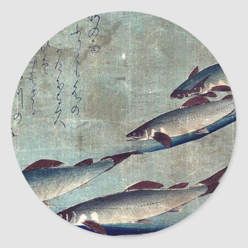 Flussforelle (Ayu) durch Andō, Hiroshige Ukiyo-e. Runder Sticker