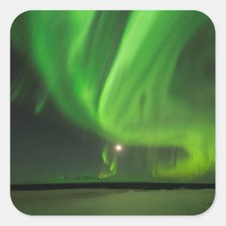 Flüssige Aurora Quadratischer Aufkleber