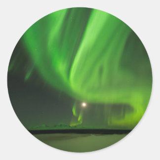 Flüssige Aurora Runder Aufkleber