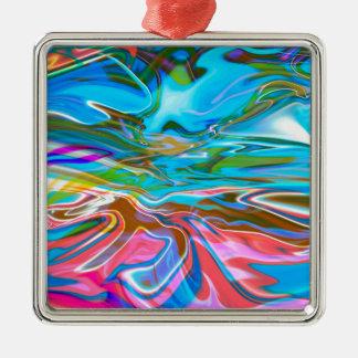 Flüssige Beschaffenheit Quadratisches Silberfarbenes Ornament