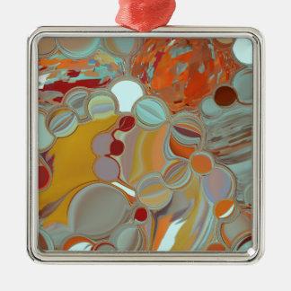 Flüssige Blasen-abstrakter Entwurf Quadratisches Silberfarbenes Ornament