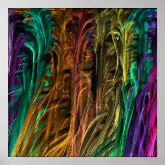 Flüssige Faser-Gras-Kunst: Bunter Regenbogen-Deko Poster