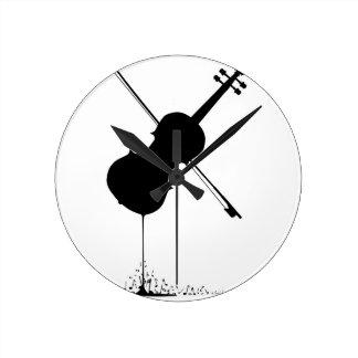 Flüssige Geigen-Musik Runde Wanduhr