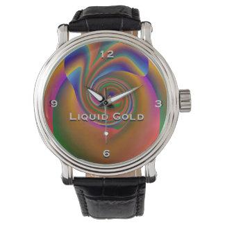 Flüssige Goldmonogramm-Uhr Uhr