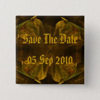 Flüssiges Gold Save the Date Quadratischer Button 5,1 Cm